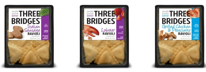 Three Bridges, the leading maker of fresh, refrigerated pastas and sauces, produces a delicious line of ravioli that are made with only simple, better-for-you ingredients. These raviolis, which have up to 14 grams of protein per serving, are filled with delicious ingredients like Italian sausage, lobster, grilled chicken, and prosciutto.