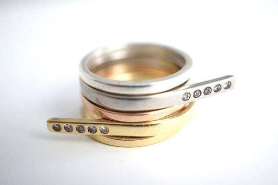 stackable modern rings - Fake Wedding Rings That Look Real