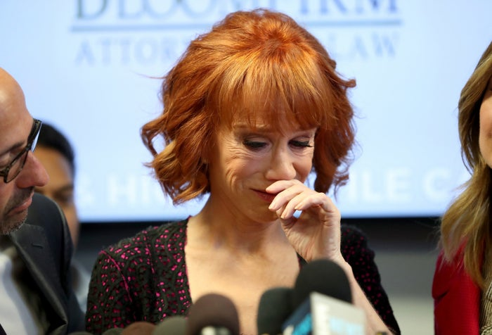 Comedian Kathy Griffin cries during a news conference in Woodland Hills, Los Angeles, June 2.