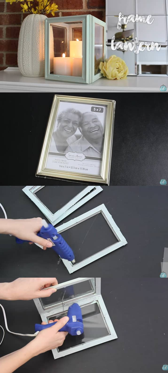 transform four dollar store frames into a winningly chic frame lantern - Dollar Store Picture Frames