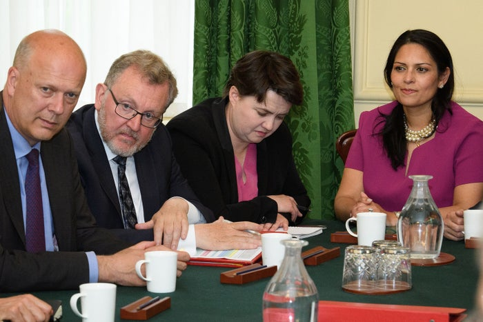 Ruth Davidson listens as Theresa May holds the first cabinet meeting since the general election.
