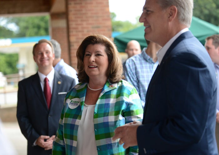 Republican candidate Karen Handel with House Majority Leader Kevin McCarthy.