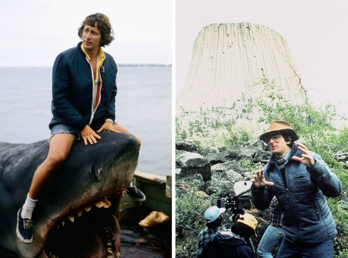 Filming on the set of Jaws, 1974 (left), and Close Encounters of the Third Kind in 1976.
