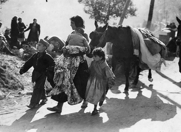 Refugiados españoles durante la Guerra Civil.