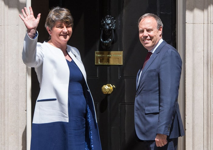 DUP leader Arlene Foster and DUP deputy leader Nigel Dodds arriving at 10 Downing Street in London for talks on a deal to prop up a Tory minority administration.