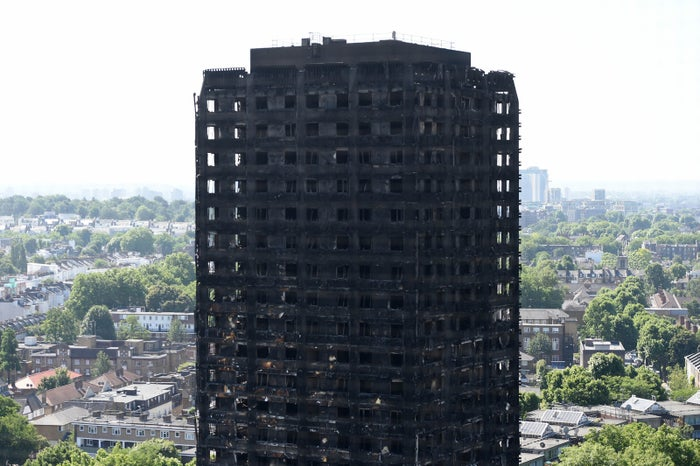Grenfell Tower, west London, after a fire engulfed the 24-storey building on Wednesday morning.