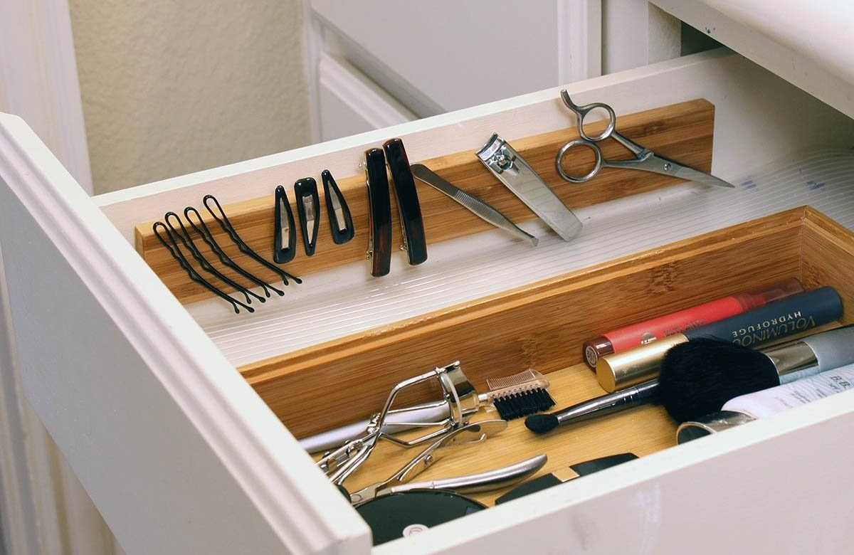 The magnetic strip installed in a bathroom drawer