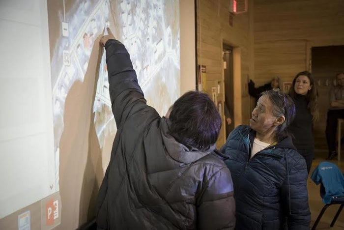 The Google Outreach team in a mapping workshop with members of the Inuit community of Sanikiluaq in 2015.