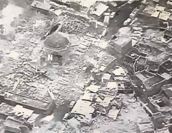 Hancurnya Masjid Agung Al-Nuri di Mosul, Irak pada Rabu (21/6/2017)