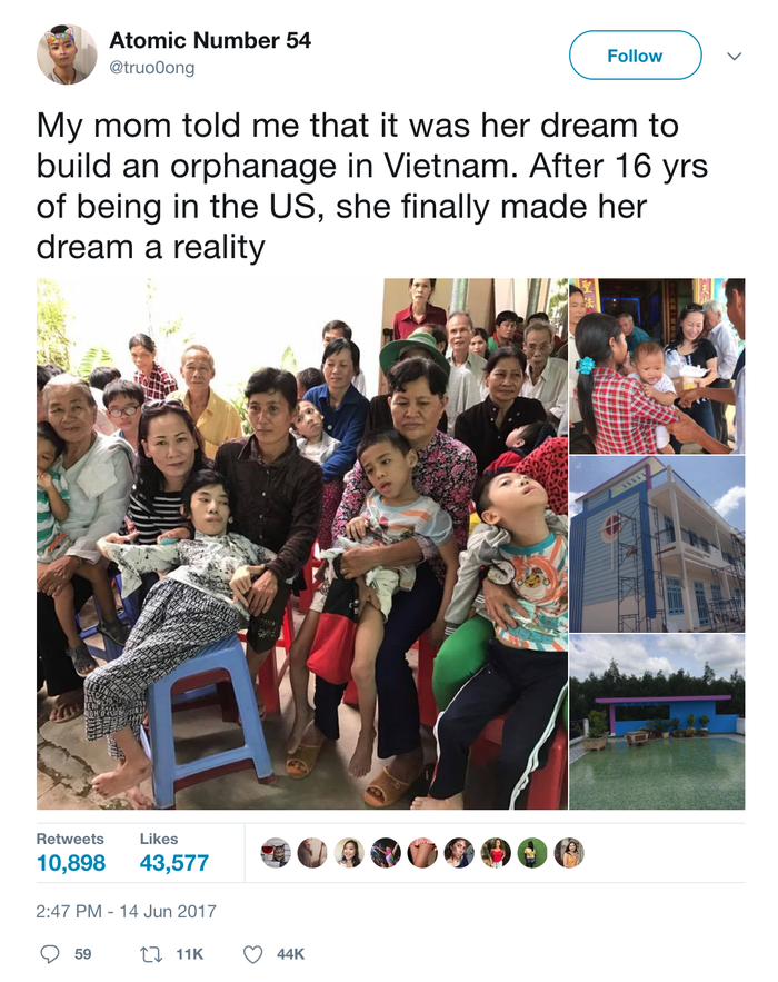 A tweet by her 18-year-old son Truong Xe about his mom has gone viral, with more than 10,000 retweets.
