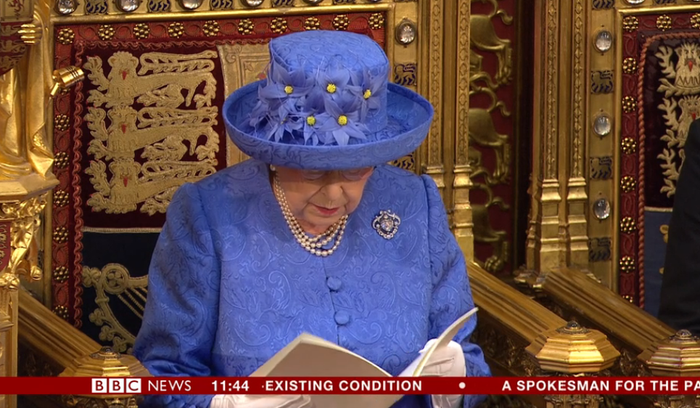 Queen Elizabeth II during the Queen's Speech in the House of Lords at the Palace of Westminster in London.