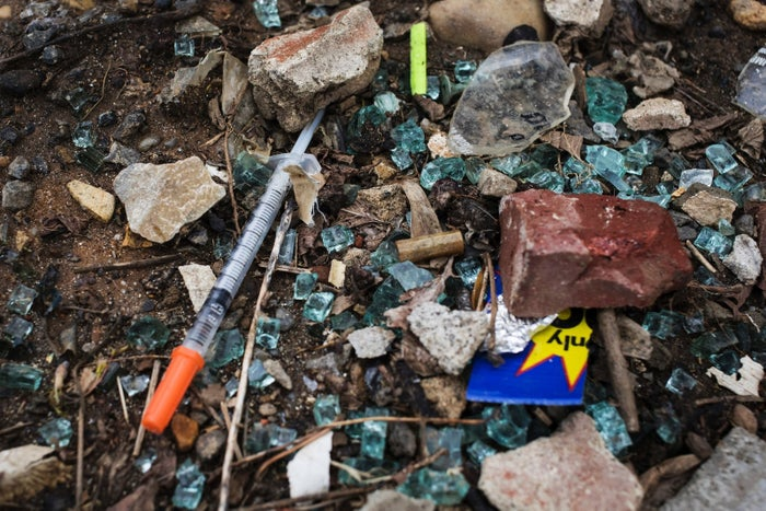 A discarded needle at a heroin encampment in Philadelphia.