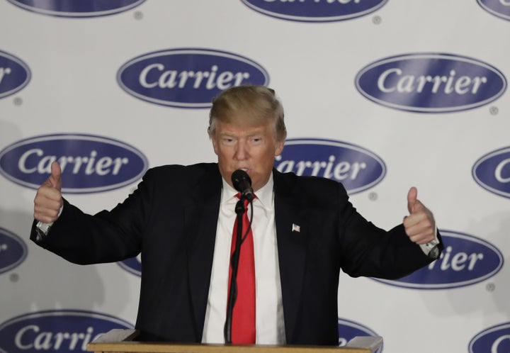 Then in December, weeks after winning the election, Trump scored an apparent victory: After speaking with the then-president-elect, Carrier said it wouldn't close the Indianapolis factory after all.