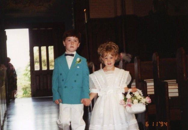 Growing up, Casey was super close to his cousin Andria. Below is the two of them as ring bearer and flower girl in a wedding when they were kids.