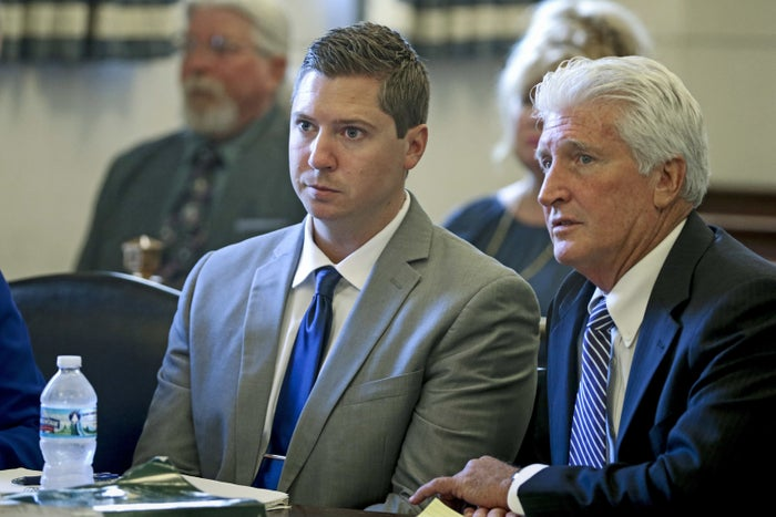 Tensing and his defense attorney, Stewart Mathews, on June 8.