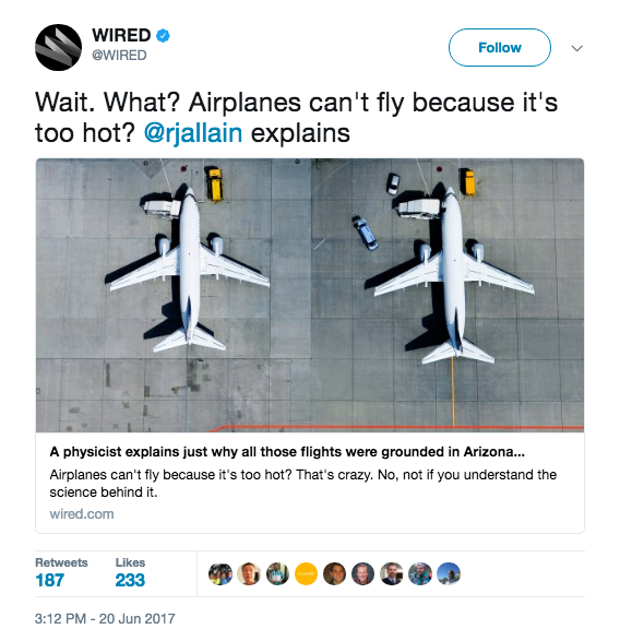 In fact, the entire Southwest is experiencing an extreme heat wave — temperatures are reaching 120 degrees Fahrenheit, and people are experiencing heat stroke and contact burns from touching pavement — but in Arizona, it's so hot that airplanes haven't been allowed to fly.