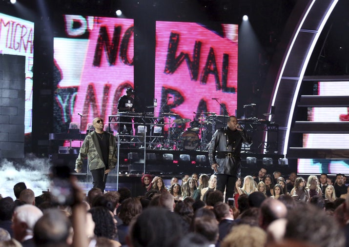 "A Tribe Called Quest perform ""We the People"" at the 59th annual Grammy Awards on Feb. 12."