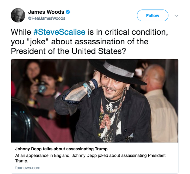 Conservative actor James Woods rebuked Depp for making the joke while House Majority Whip Steve Scalise was in the hospital recovering from being shot at the baseball practice.