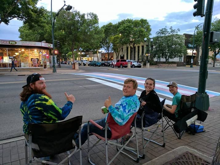 """Calgary-based blogger Mike Morrison was in Lethbridge the night before Pride when he saw these four champs sitting on the sidewalk in lawn chairs. """"In my head, I thought they're either there for a really good reason or a really bad reason,"""" Morrison told BuzzFeed Canada.""""I went over and asked what they were doing. They said, 'Oh, these were vandalized this week so we're just going to spend the night watching it.' They said they just wanted to make sure everyone had a great Pride, and then I just started bawling."""""""