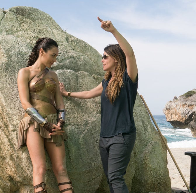 Gal Gadot and director Patty Jenkins on the set of Wonder Woman.