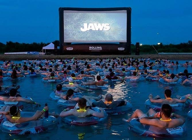 "Run by Alamo Drafthouse and FandangoNOW, the screening — which is a tradition at Volente Beach Water Park's Lake Travis in Austin, Texas — allows fans to ""relax"" and enjoy the summer thriller from the comfort of their own inner tube."