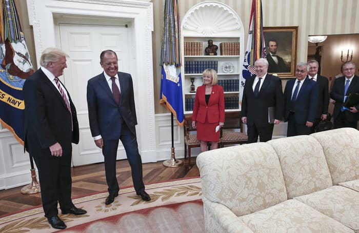 President Donald Trump meets with Russian Foreign Minister Sergey Lavrov, along with Sergey Kislyak.