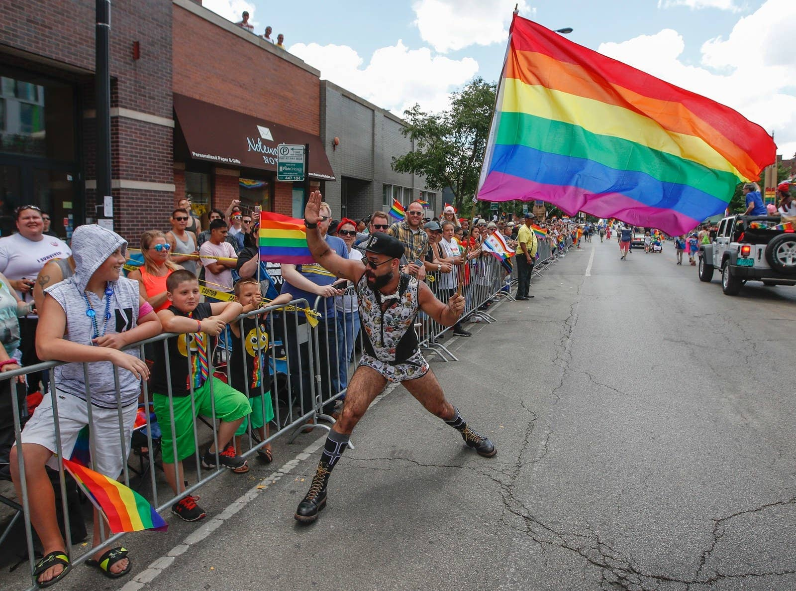 People celebrate the 48th annual Gay and Lesbian Pride Parade on June 25,  2017 in