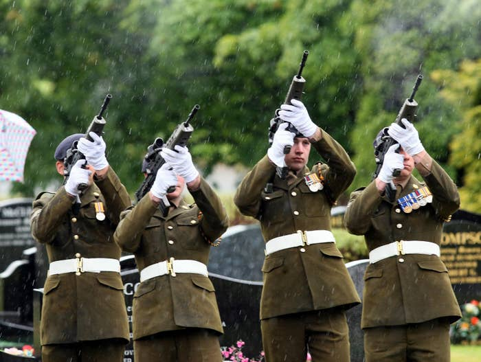 Soldiers at Redburn cemetery in Holywood, Co Down.