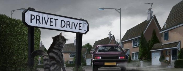 En la película: La primera escena muestra a Dumbledore y la profesora McGonagall dejando a Harry en casa de los Dursley. El libro: Primero se ve el día que tiene el tío Vernon antes de la llegada de su sobrino: en la televisión ve noticias sobre la cantidad inusual de lechuzas en la ciudad y una lluvia de estrellas que no estaba pronosticada. En la calle ve grupos de personas usando túnicas; además, ve a un gato leyendo un mapa cerca de su casa (que resulta ser la profesora McGonagall espiando a los Dursley).