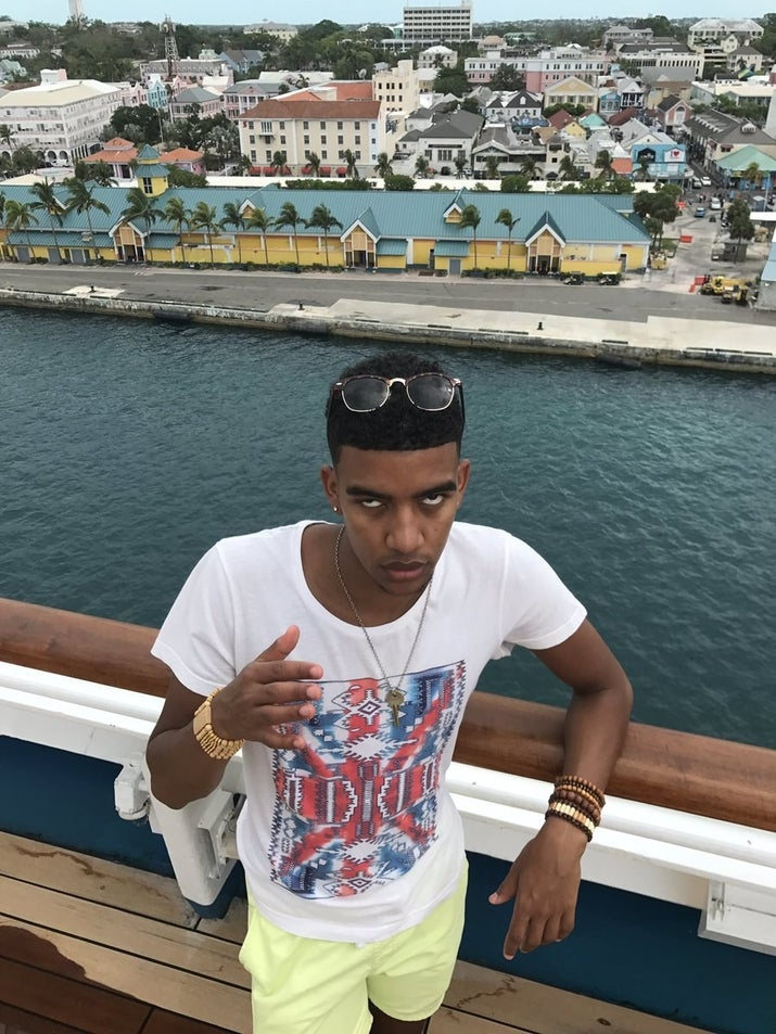 """""""The background of the city of Nassau and the blue water was too beautiful not to get a picture with,"""" he explained."""