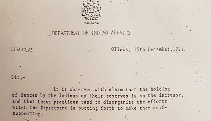 """The letter was written by a deputy superintendent of the Department of Indian Affairs, which is known today as Indigenous and Northern Affairs Canada. """"You should suppress any dances which cause waste of time, interfere with the occupations of the Indians, unsettle them for serious work, injure their health or encourage them in sloth and idleness,"""" the letter says.The letter also instructed the Indian agent to prevent people from leaving the reserve if possible, and to control social gatherings within the reserve.""""The rooms, halls or other places in which Indians congregate should be under constant inspection,"""" the letter reads. """"They should be scrubbed, fumigated, cleansed or disinfected to prevent the dissemination of disease."""""""