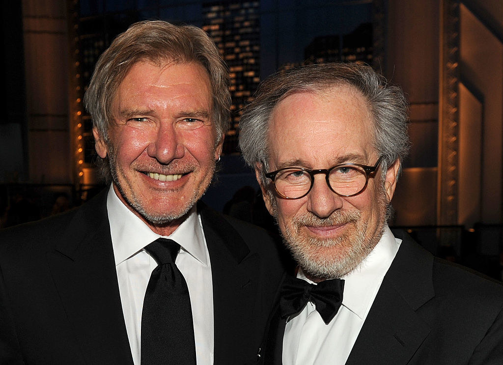 A photo of Harrison Ford and Steven Spielberg, both in tuxes, at an event in the early 2010s