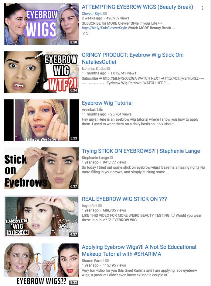 """Eyebrow wigs are exactly what they sound like: wigs that go over your brows. They were originally created for those suffering from hair loss, but they later resurfaced within the beauty community as a """"new"""" trend."""