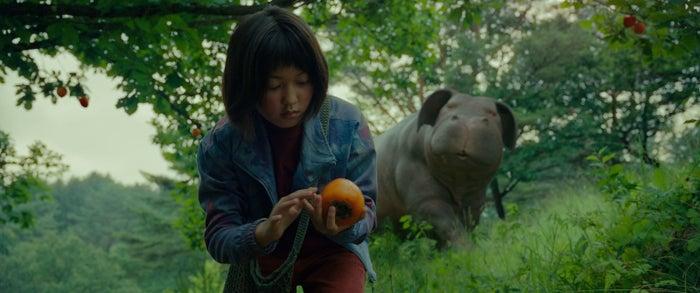 Mija (Ahn Seo-Hyun) with her super pig in Okja.