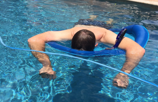 He did so by using a genius hack only a dad could come up with. He bought a snorkel explicitly for the purpose of napping in his pool. Then, he laid down, and voila!