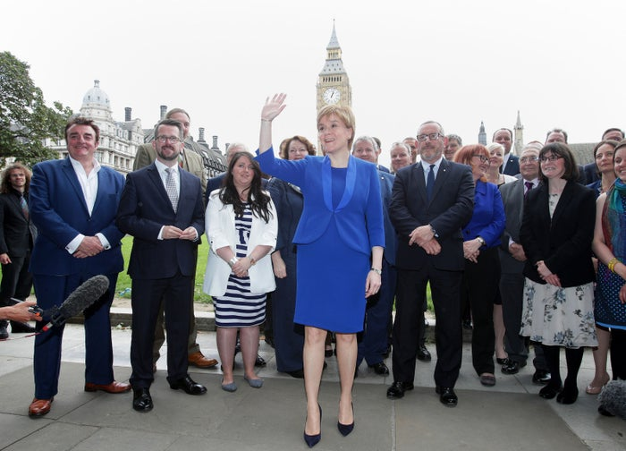 First minister Nicola Sturgeon welcomes new SNP MPs to Westminster, London.