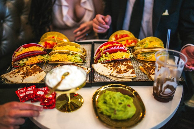 "After exchanging ""I do's,"" the couple chowed down on tacos, quesadillas, and of course some Cheesy Gordita Crunches."
