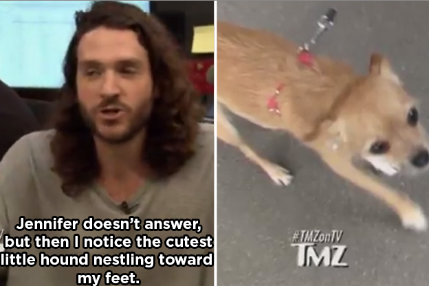 The pap said he kept asking questions — which Jen didn't answer. Then he noticed her dog, Pippi.