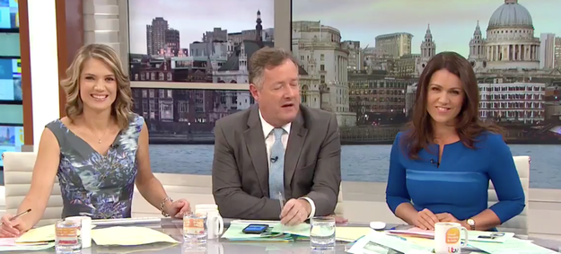 Say hello to the three cohosts of Good Morning Britain, a morning chat show on ITV. The show's hosted by Charlotte Hawkins, Piers Morgan, and Susanna Reid.
