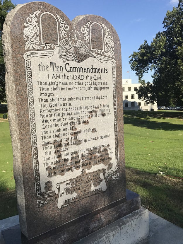 The six-foot-tall piece of granite was funded by a private group, but lawmakers had to pass a law two years ago to allow it to be placed on state grounds.