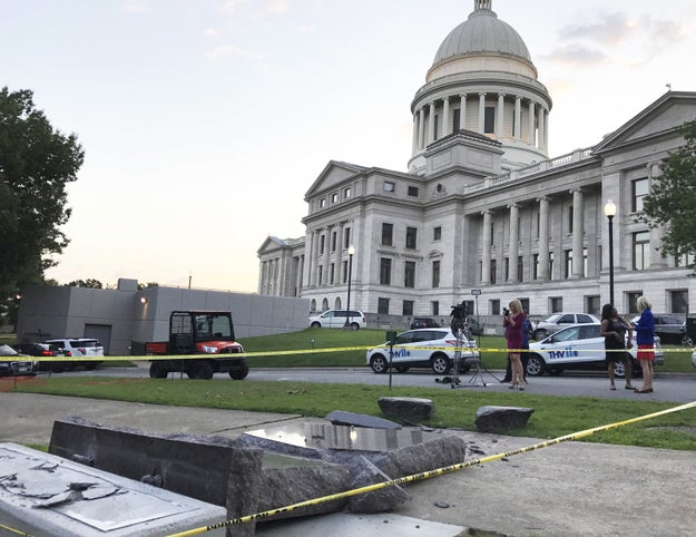 The monument was toppled by a man who drive into the statue shortly before 5 a.m. local time, Chris Powell, a spokesman for the Arkansas secretary of state, told BuzzFeed News.