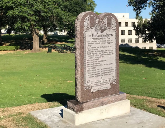 This monument of the Ten Commandments was installed by workers on the Arkansas Capitol grounds in Little Rock on Tuesday.