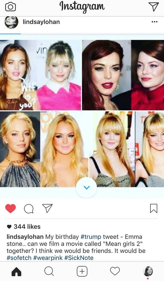 Lindsay Lohan Just Asked Emma Stone To Do
