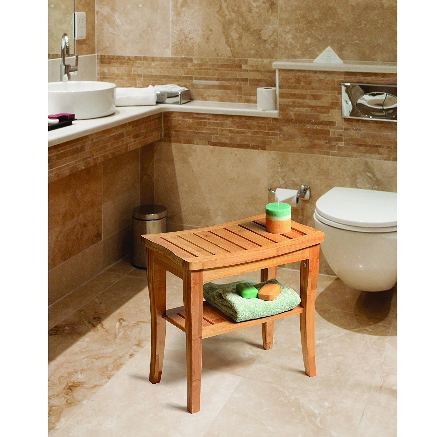 a bamboo shower seat bench so you can really sit in there and avoid until the water runs cold