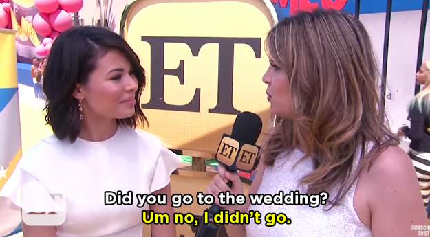 First the interviewer asked her if she went to Josh's wedding. A big NOPE.