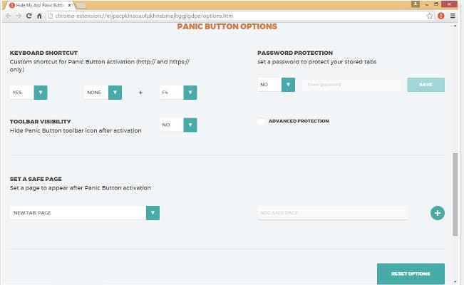 The Panic Button Chrome extension will hide all of your tabs with one quick click. Once you're in the clear, you can easily unhide them all.