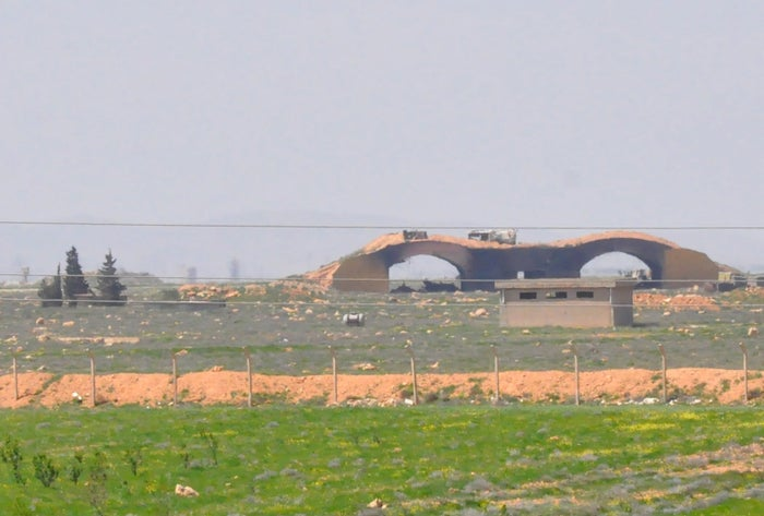 A picture taken on April 7, 2017, shows a view of the damaged Shayrat airfield.