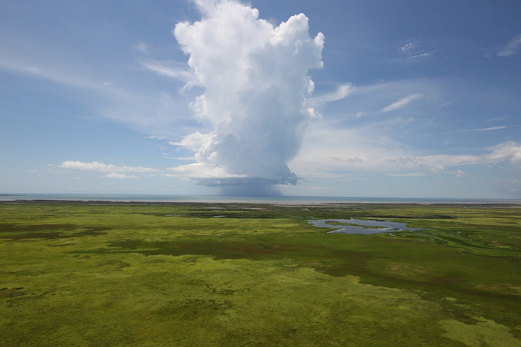 A cumulus cloud over the Arafura Sea signals the beginning of the wet season in the Top End.
