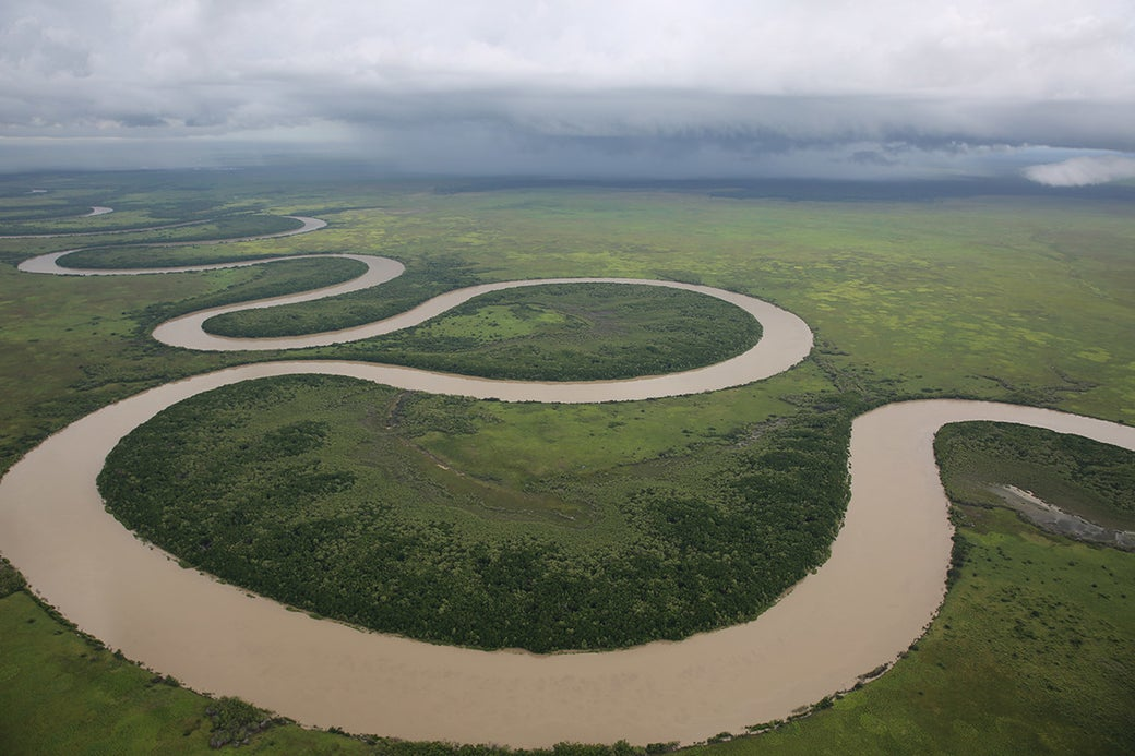 """""""Here's a shot over Adelaide River - the most beautiful river I've seen. I took this shot just as the storm was rollling in."""""""