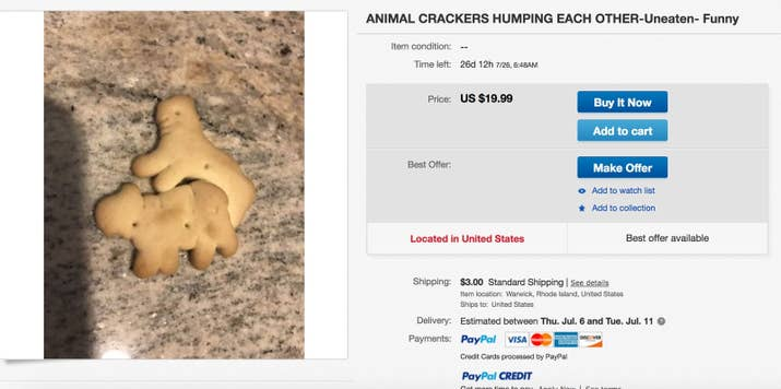 """""""Offering a new uneaten animal crackers humping each other. Found inside the bag of animal crackers. So funny and bizarre! Ask questions!"""""""